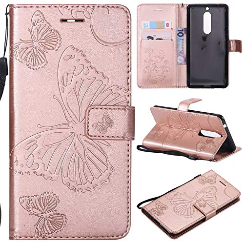 THRION Nokia 5 Hülle, PU Schmetterling Brieftaschenetui mit magnetischer Handschlaufe und Ständerhalterung für Nokia 5, Rosa Gold