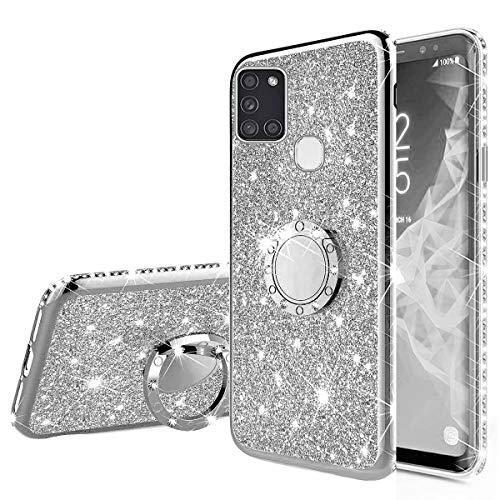 Nadoli Glitzer Hülle für Galaxy A21S,Kristall Diamant Strass Bumper mit 360 Ring Kickstand Silikon Schutzhülle Handyhülle Frauen Mädchen für Samsung Galaxy A21S,Silber