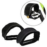 Wommty 1 Paar Fixed Gear BMX Fahrrad Doppel Klettverschluss Anti-Rutsch Pedal Zeh Clip Riemen Magic Tape, Schwarz