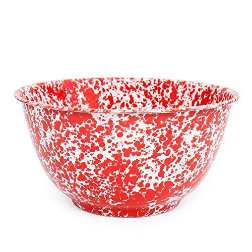 Enamelware Salad Bowl, 4 quart, Red/White Splatter