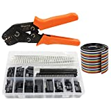 WayinTop Connector Crimping Tool Kit Crimper Plier 2.54mm Header Male Female Crimp Pins Terminals Housing 1 2 3 4 5 6 8 10 Pin and 40pin 1.27mm Ribbon Cable FC/IDC Jumper Wire 1M (Crimping Set)