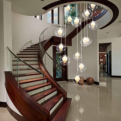 Duplex Apartment Wendeltreppe Lange Kronleuchter, Treppen Kronleuchter 12 Glaskugel Multi Lichter Kreative Villa Pendelleuchte 50x180 cm Pendant Light (Farbe : A)