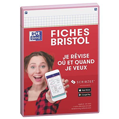 Oxford Révision 2.0 Lot de 50 Fiches bristol format A5 (14, 8 x 21cm) petits carreaux Recto/Verso - cadre Rose