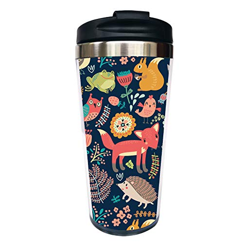 CUAJH Personalized Travel Coffee Mug for Women Men, Insulated Tumbler with Lid Spill Proof, Cute Cartoon Forest Animal Fox Pattern, 14 OZ