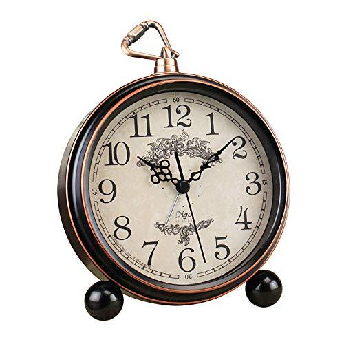 JUSTUP 5.5' Classic Retro Clock, European Style Vintage Silent Desk Alarm Clock Non Ticking Quartz Movement Battery Operated, HD Glass Lens, Easy to Read (SZ01)
