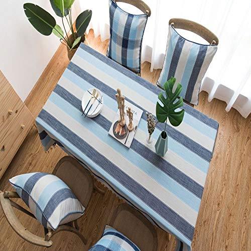 WEIFENG Mantel a Rayas a Prueba de Agua Estilo mediterráneo Tela Azul Lino de algodón pequeña Mesa de Comedor Fresca Mesa de Centro Rectangular Azul 140 * 260