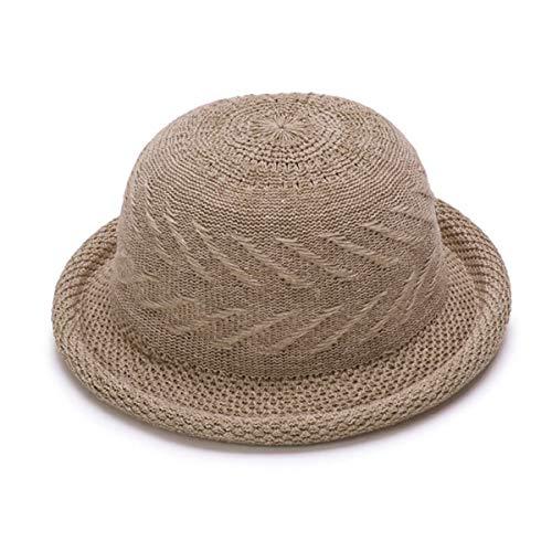 Greatangle Modische Frauen Frühling Sommer Runde Hut Atmungsaktive Frau Aushöhlen Runde Kleine Hutkappe Einfarbiger Kaffee
