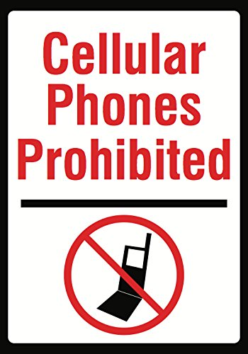 Cellular Phones Prohibited Sign - Large No Cell Phone Use Warning Notice Signs - Aluminum Metal 2 Pack, 12x18