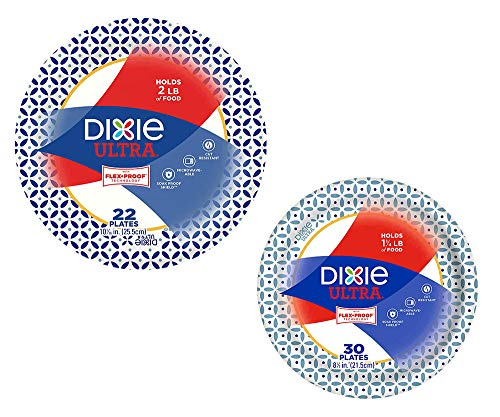 """Dixie Ultra Heavy Duty Paper Plate Bundle, Large Plate 10 1/16"""" (22 ct) and Medium Plate 8 1/2"""" (30 ct)"""