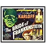 Bride of Frankenstein Poster - Scary Movie Wall Art - Vintage Horror Movie Poster - 8x10 Classic Movies Wall Decor - Monster Movies - Home Theater Room Decorations