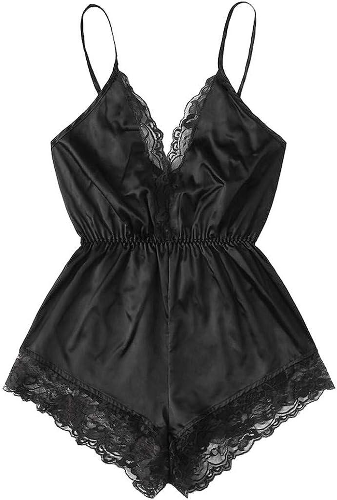Satin Sleepwear Lingerie for Women Sleeveless Deep V Nightwear Lace Trim Cami Top Shorts Sets Temptation Nightie