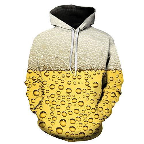 Z&Y Glaa Herren Pullover Hoodie Oversize, Männer Gelb Bier 3D-Bedruckte Sanitärkleidung Mit Kapuze Langärmelige Bluse Regular Fit Hemd Mens Beer Printed Design Tops Große Größen Unisex 3D Hoodie