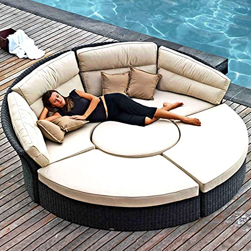 SND-A 5-Piece Patio Wicker Rattan Daybed Sectional Sofa Furniture Sun Lounger Set W/Coffee Table, Weather-Resistant Cushions - for Patio Lawn Garden Backyard Swimming Pool