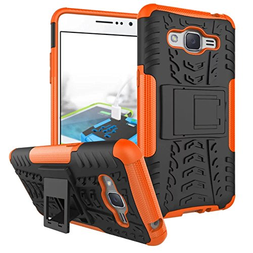 ARSUE Galaxy Grand Prime 2016 Case, Galaxy J2 Prime Case, Hard Silicone Rubber Hybrid Armor Shockproof Protective Case Cover with Kickstand for Samsung Galaxy Grand Prime 2016 / J2 Prime - Orange