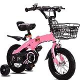 HUAQINEI Bicicleta Plegable para niños, Hummer, Rueda Intermitente, 2-5-6-9 años, niño y Mujer, Bicicleta del Tesoro, 12/14/16, Rosa, 14 Pulgadas