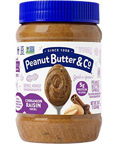 Peanut Butter & Co . Peanut Butter, Non-GMO, Gluten Free, Vegan, Cinnamon Raisin Swirl, 16 Ounce Jar