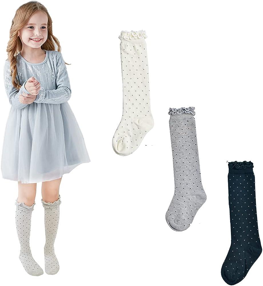 ESTINE Girls Socks Knee High Cotton Baby Toddler Kids Chindren Princess School Socks Stockings For Shoes