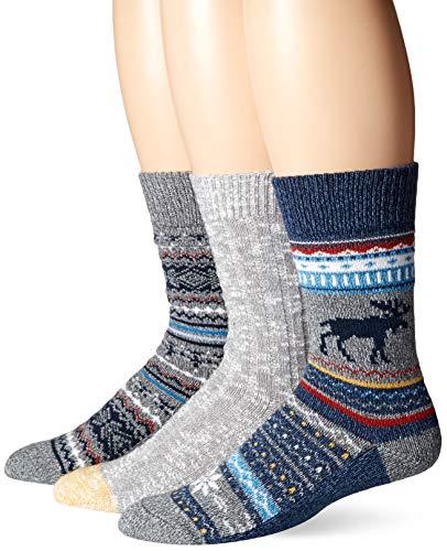 Amazon Brand - Goodthreads Men's 3-Pack Boot Socks, Navy Moose Fair Isle, One Size