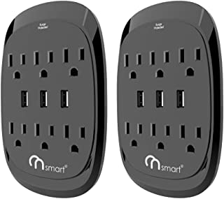 ON Smart USB Wall Tap Surge Protector with 6 outlets 3 USB-3.4A Output, Portable Wall-Mount Socket- 300J Surge Protection & Smart Charging for Home- Office- Kitchen- Travel (2 Pack)