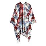 Women Blanket Shawls Open Front Poncho Cape Winter Warm Knitted Tassel Shawl Oversized Wrap Scarf Fuchsia
