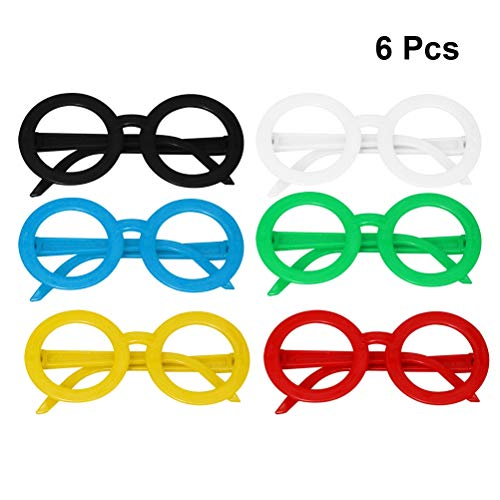 STOBOK 6 gafas de sol para niños divertidas, redondas, multicolor, para Navidad, cumpleaños, fiestas, disfraces, accesorios (color aleatorio)