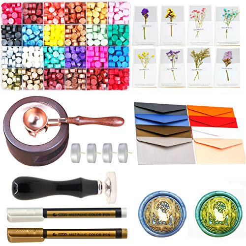Wax Seal Set, ANBOSE 745pcs Wax Sealing Kit with Wax Seal Beads, Sealing Wax Warmer, Envelopes, Wax Seal Stamp Flower Cards and Wax Pen for Wax Sealing