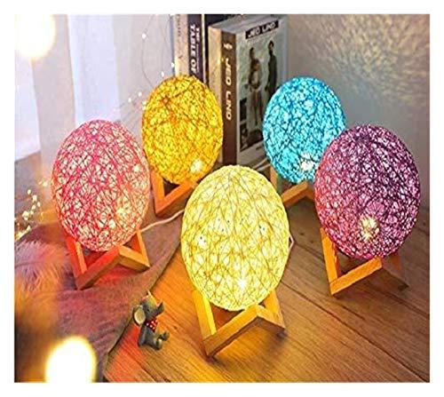 XIAOGING USB de Carga de Intensidad Regulable luz de la Bola de la Noche LED de luz Rota 15cm Moonlight Twine Rattan turística Luna Lámpara de cabecera Cama Leyendo Noche 4 PC