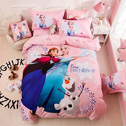 Cenarious Frozen Pink Anna Elsa Princess Olaf Cartoon Bedding Set Boys Girls Kids 100% Cotton Duvet Cover and Pillow Cases and Fitted Sheet - Girls - 4 Pieces - Queen