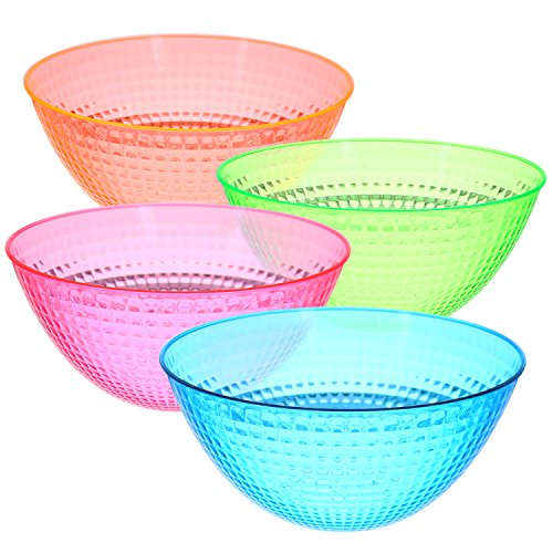 Set of 4 – Round Plastic Serving Bowls – Party Snack or Salad bowl,80-Ounce, Great For Party's Neon colors