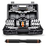 Mancuernas Combinación Ajustable Peso Set Interior Pesas Barbell 15kg20kg extraíble par de Dos en Caja (Color : Orange, Size : 20KG)