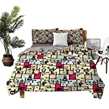 dsdsgog 3 Sets of Bedding Big Bed Queen Bed Sheet Robots on Grid Squares Environmentally Friendly Printing W68 xL85 Zippered Quilt Cover and 2 Envelope Pillowcases