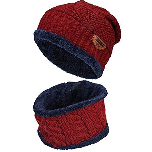 Acexy Wintermütze Herren Damen Warme Strickmütze und Kreis Schal Set im Freien Schal Beanie Skull Cap für den Winter