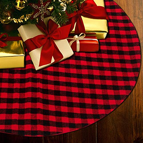 Nargos Christmas Tree Skirt Buffalo Plaid Red, 48In Rustic Tree Skirt Red and Black Round base Mat Xmas Decorations for Your Christmas Tree - Fits Any Size Tree (122cm)