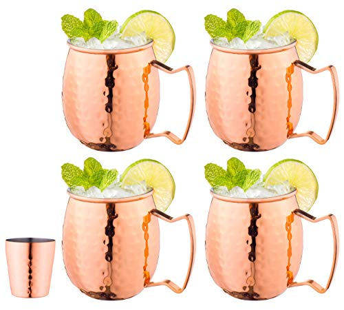 Royalty Art (4-Pack) Moscow Mule Copper Mugs with shot glass, Handles Classic Drinking Cup Set Home, Kitchen, Bar Drinkware Helps Keep Drinks Colder, Longer Food-Grade Safe Lining (16oz)