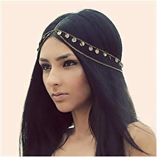 Campsis Gold Sequins Head Chain Gyspy Layered Headpiece Festival Hair Jewelry for Women and Girls