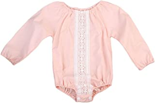 GSHOOTS Baby Girls' Long Sleeve Onesies Floral Lace Romper ((90/12-18 Months, Pink Daisy)