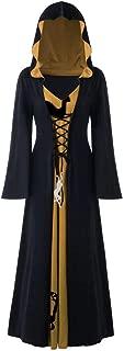 Lace up Vintage Medieval Hooded Renaissance Gothic Halloween Christmas Elk Printed Cloak Dress for Women