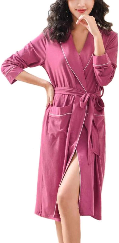 LIULIFE Bathrobe Ladies Spring Autumn LongSleeved Dressing Gown Large Size Nightgown Ladies Sleepwear