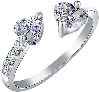 Women Double Heart Full Diamond Open Rings Zircon Ring Jewelry Valentine's Festival Gifts for Boyfriend Girlfriend (US Size)