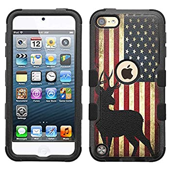 iPod Touch 7 Case,iPod Touch 6 Case Hard+Rubber Dual Layer Hybrid Heavy-Duty Rugged Impact Cover Case for iPod Touch 5 6 7th - US Flag Deer #A