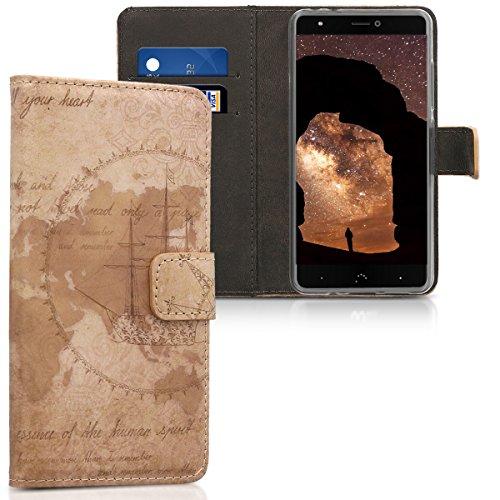 kwmobile Wallet Hülle kompatibel mit bq Aquaris X/X Pro - Hülle mit Ständer Kartenfächer Travel Vintage Braun Hellbraun