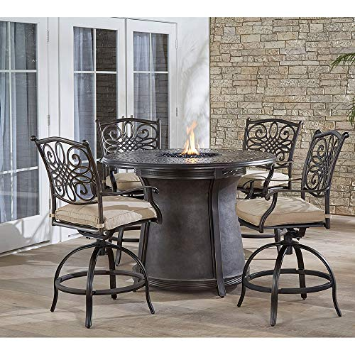 Hanover TRAD5PCFPRD-BR Traditions 5-Piece High-Dining Set Outdoor Furniture, Tan