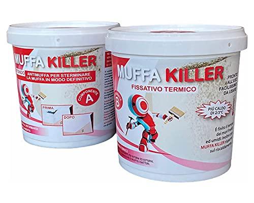 Pittura Antimuffa per Interni MuffaKiller, Kit Antimuffa per Muro Interni A+B a due Componenti, Antimuffa per Muro interni da 1 litro + 1 litro, Pittura Bianca per Interni Antimuffa