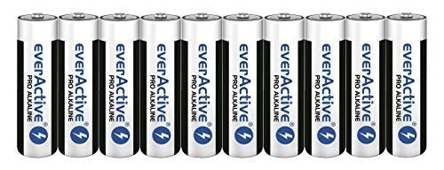 everActive AA Batterien 10er Pack, Pro Alkaline, Mignon LR6 R6 1.5V, höchster Leistung, 10 Jahre Haltbarkeit, 10 Stück