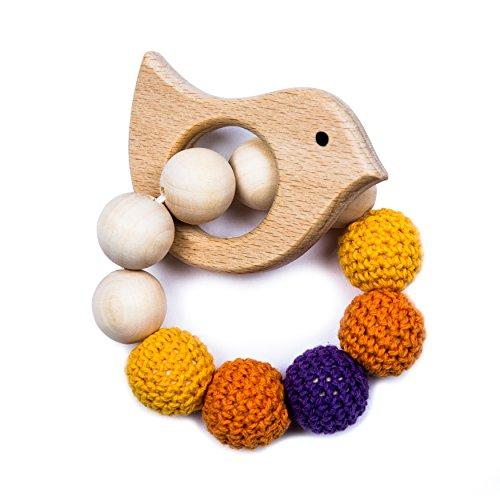 Natuurlijke Houten & Haak Montessori Teether Rattle Verschillende vormen en kleuren. Hoogwaardig product. Vogel