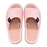 BIKINIV Reflexology & Acupressure Massage Slippers Sandals for Men & Women Home Shoes Shock Absorbing, Cushion Comfort & Arch Support for Better Health (7.5-8 Women/6.5-7 Men, Light Pink)