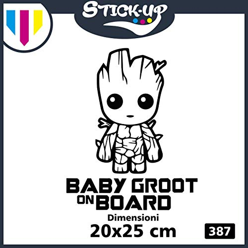 Sticker Groot - Baby Groot on Board - Bébé à Bord - Baby on Board - Dimensions 20 x 25 cm - Autocollant Tuning Lunette Voiture Moto Custom Decal Enfant Fille à Bord Noir