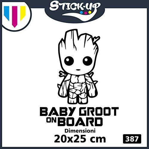 Stick-up Adesivo Sticker logistica Groot -Baby Groot ON Board - Bebè a Bordo - Baby ON Board - Dimensioni 20x25 cm - Adesivo Tuning lunotto Auto Moto Custom Decal Bimbo Bimba A Bordo (Nero)
