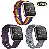 KIMILAR 3-Pack Bands Compatible with Fitbit Versa/Versa 2/Versa Lite Edition, Large Small Soft Woven Fabric Breathable Accessories Strap Replacement Wristband Women Men Compatible Versa Smart Watch