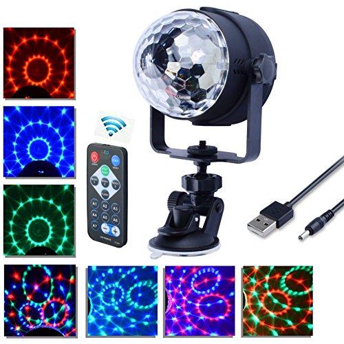 Mini palla lampada magica, Florally 3W Luci da palco cristallo rotante sfera LED RGB effetto, Proiettore Luce LED Proiettore Disco Effetti Multicolore RGB LED Sfera Magic Luci Con Telecomado